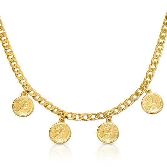 Queen Elizabeth medallion choker -18k gold plated