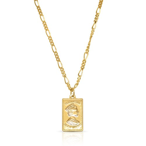 Queen Elizabeth pendant necklace - 18k gold plated