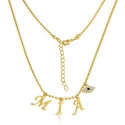 Name choker with eye charm - in 18k gold plating