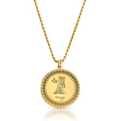 Gold Plated Zodiac Pendant : Virgo