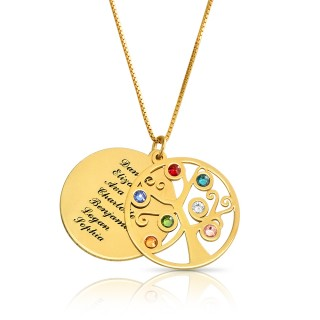 Family tree pendant in gold plating &  swarovski birthstone
