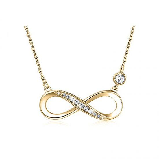 infinity necklace in18k gold plating and cubic zirconia