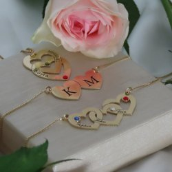 two hearts engraved necklace with birthstones in 18k gold plating
