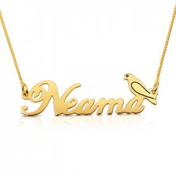 18k gold plated name necklace with a bird