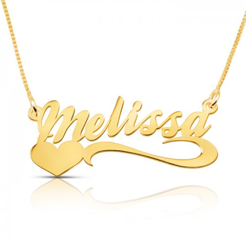 18k gold plated name necklace and heart at the bottom