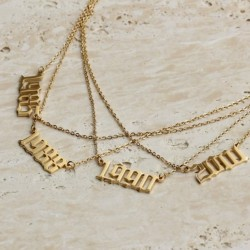 18k gold plated year necklace