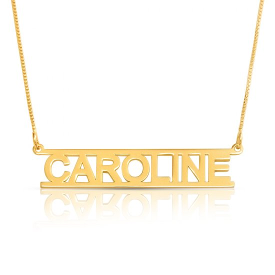 Cut out name necklace - 18k gold plated