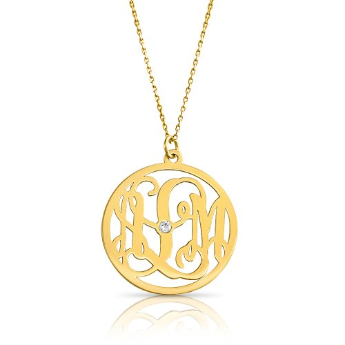 Impressive monogram necklace with swarovski in 18k gold plating