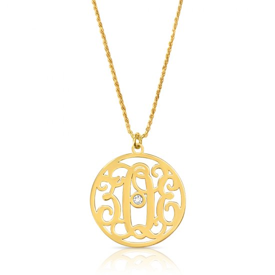 Impressive monogram necklace with swarovski in 18k gold plating