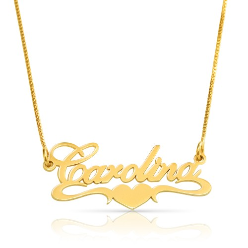 gold plated middle heart name necklace