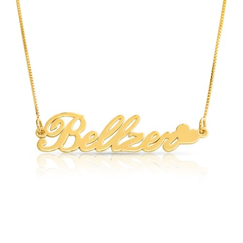 heart name  necklace in 18k gold plated silver