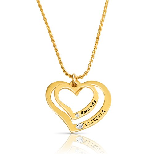 18K Gold Plated 2 Hearts Necklace Engraved With 2 Names & Swarovski Birthstones