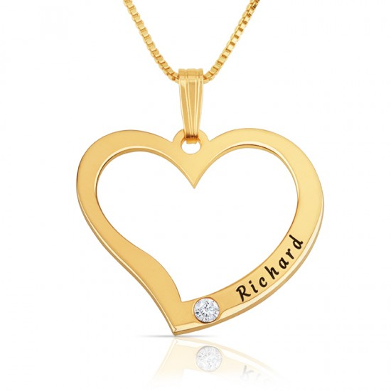 Engraved Heart Necklace with Birthstone