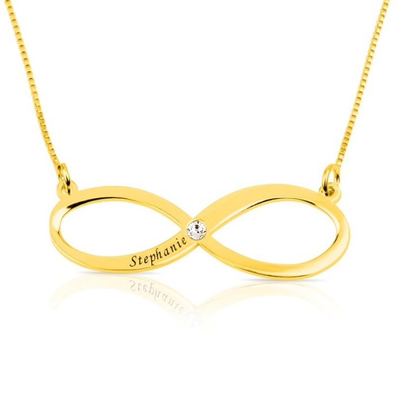 Engraved Infinity Name Necklace With Swarovski Birthstone