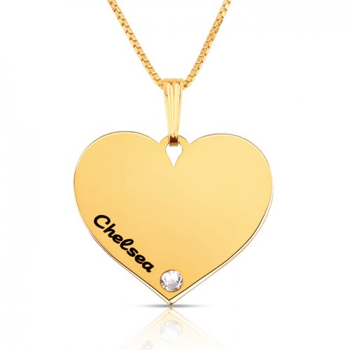 Dainty engraved heart necklace in gold plating & swarovski