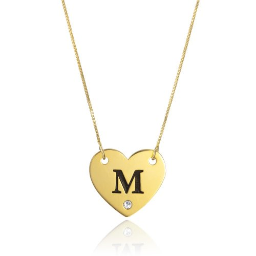 18k gold plated heart necklace with initial letter & swarovski birthstone