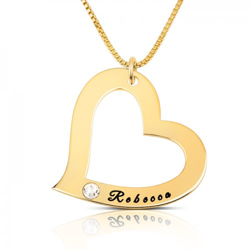engraved heart pendant necklace with gold plating&swarovski birthstone