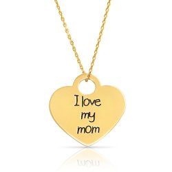 engraved heart necklace for mother in 18k gold plating