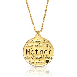 18k gold plated engraved disc necklace for mom