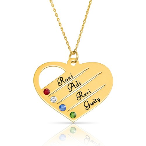 mom/grandma necklace with kids names engraved & swarovski birthstones  in 18k gold plating