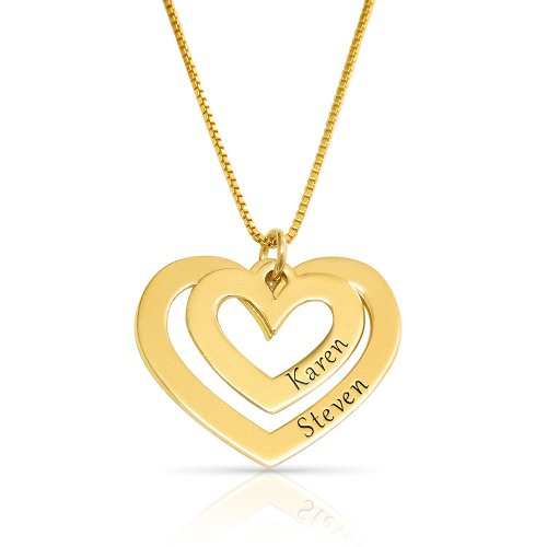 Golden Two Hearts Engraved Necklace