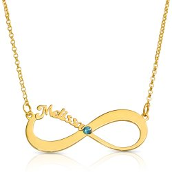 Infinity Necklace With Name & Birthstone
