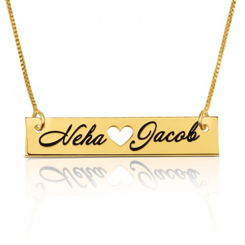 heart bar necklace with two names engraved in 18k gold plating