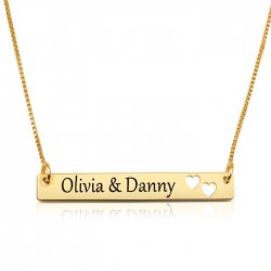 gold plated  bar necklace with two names & hearts