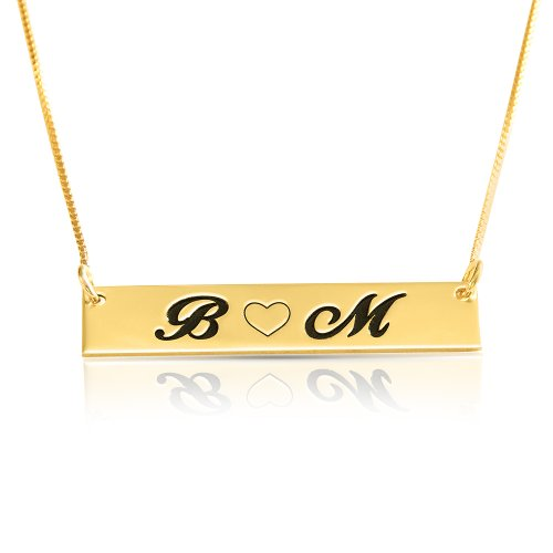 Love bar necklace with two letters & heart - in gold plating