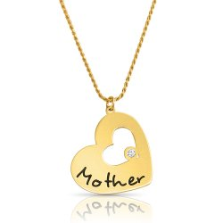 large  heart shaped  pendant for mother with gold plating & swarovski