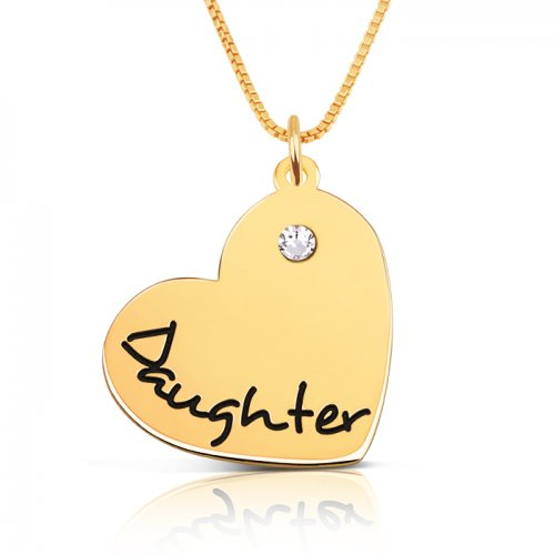 engraved heart pendant for daughter with gold plating & swarovski birthstone