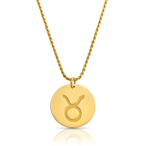 zodiac necklace in gold plating:Taurus