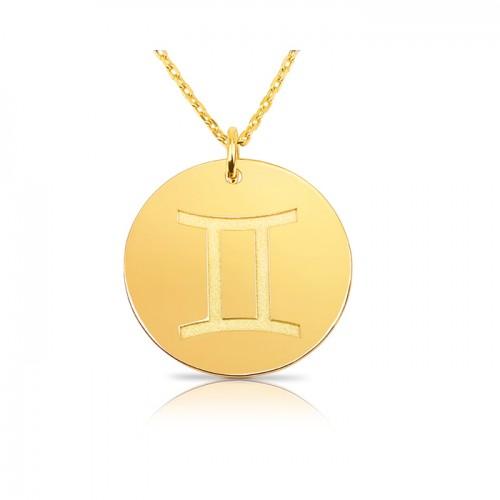 zodiac necklace in gold plating:Gemini