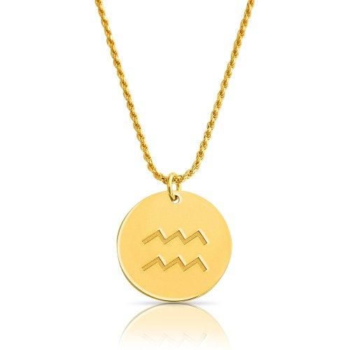 zodiac necklace in gold plating:Aquarius