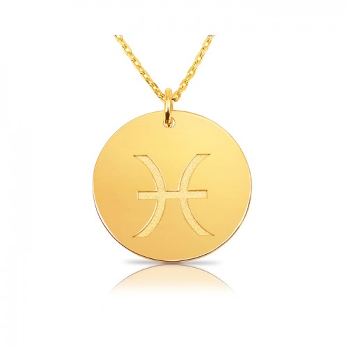 zodiac necklace in gold plating:Pisces