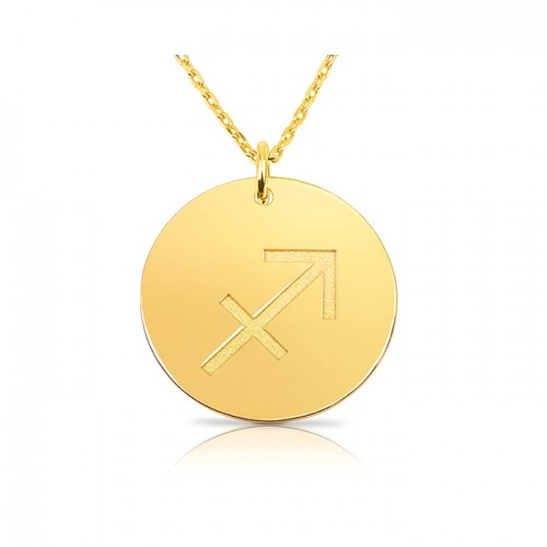 zodiac necklace in gold plating: Sagittarius