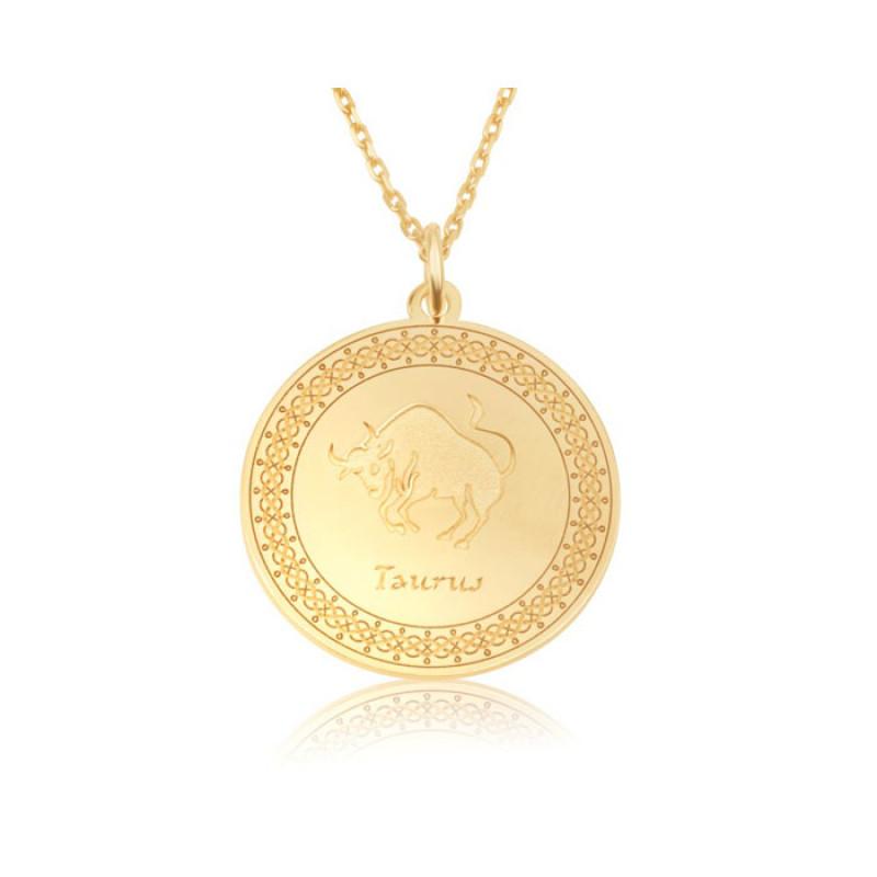 gold plated zodiac pendant :Taurus