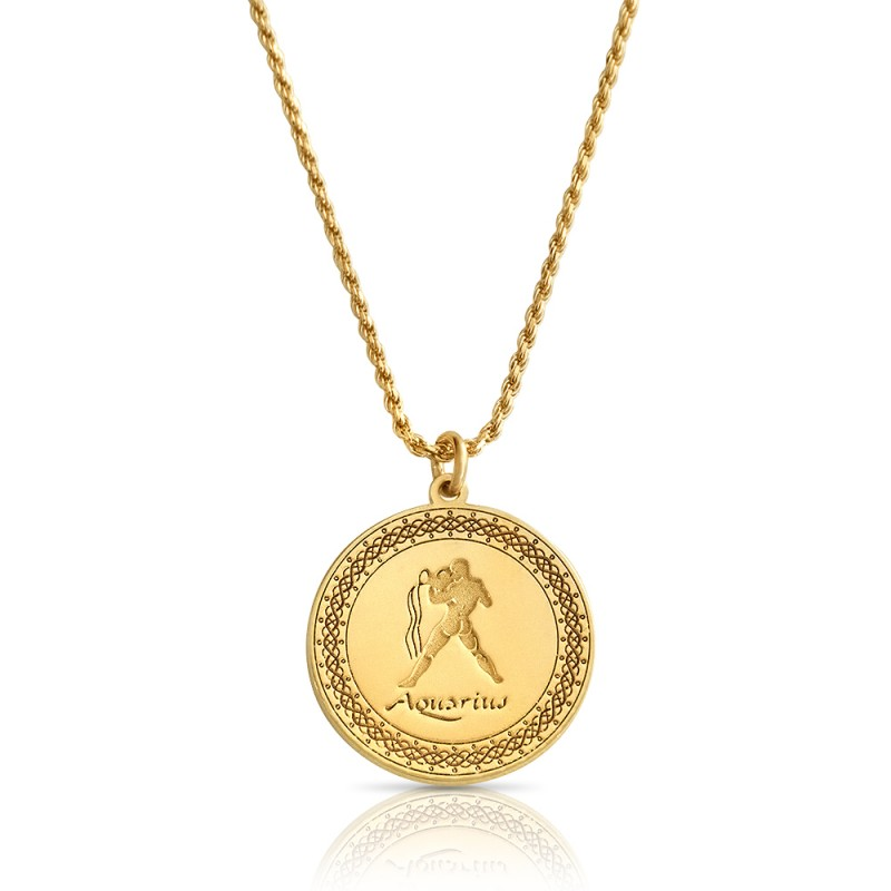 gold plated zodiac pendant :Aquarius