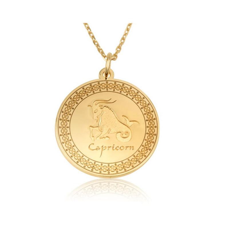 gold plated zodiac pendant :Capricom