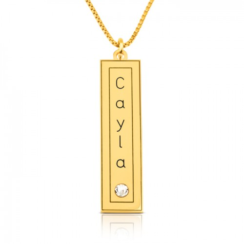 vertical bar with name engraved in a frame & swarovski  in gold plating