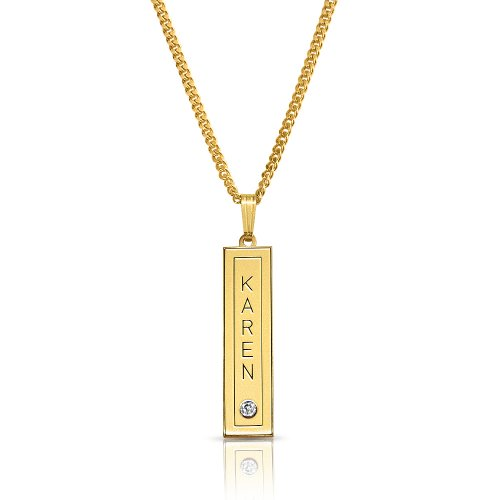 Vertical Bar With Name and Swarovski birthstone - in 18k gold plating