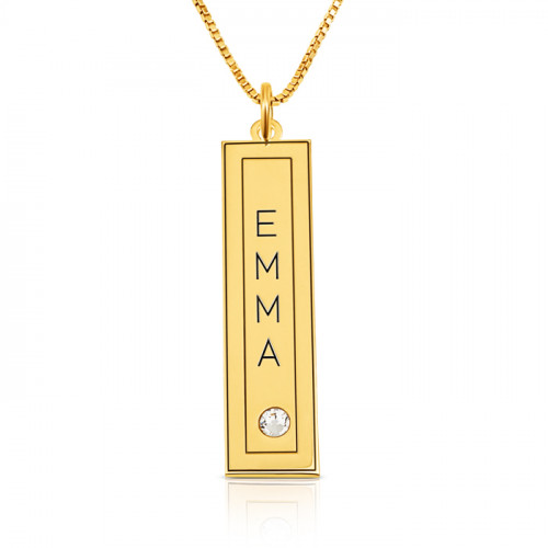 gold plated vertical bar with name engraved in a frame & swarovski