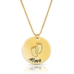 baby feet disc necklace in gold plating