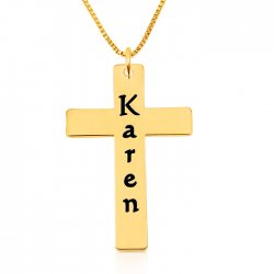 personalized cross necklace in gold plating