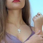 personalized engraved cross necklace in gold plating