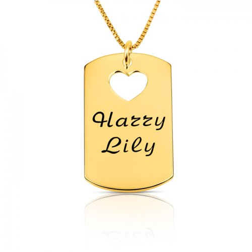 gold plated dog tag necklace with two names & a heart