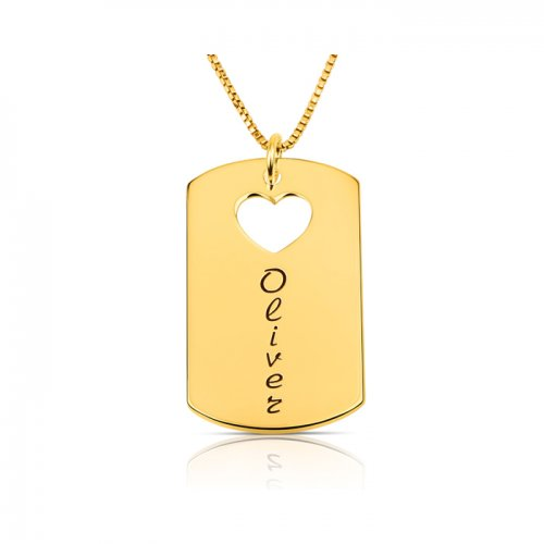gold plated dog tag necklace with a name & a heart