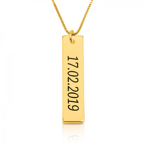 Numeral bar necklace in 18k gold plating