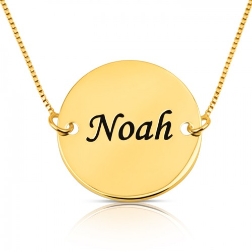 personalized disc necklace in gold plating
