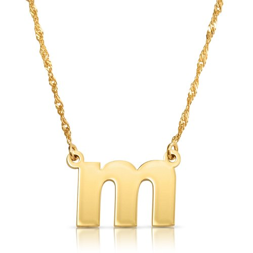 Lowercase initial necklace in 18k gold plating